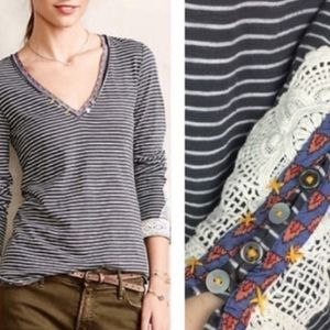 Little Yellow Button striped embellished cuff tee